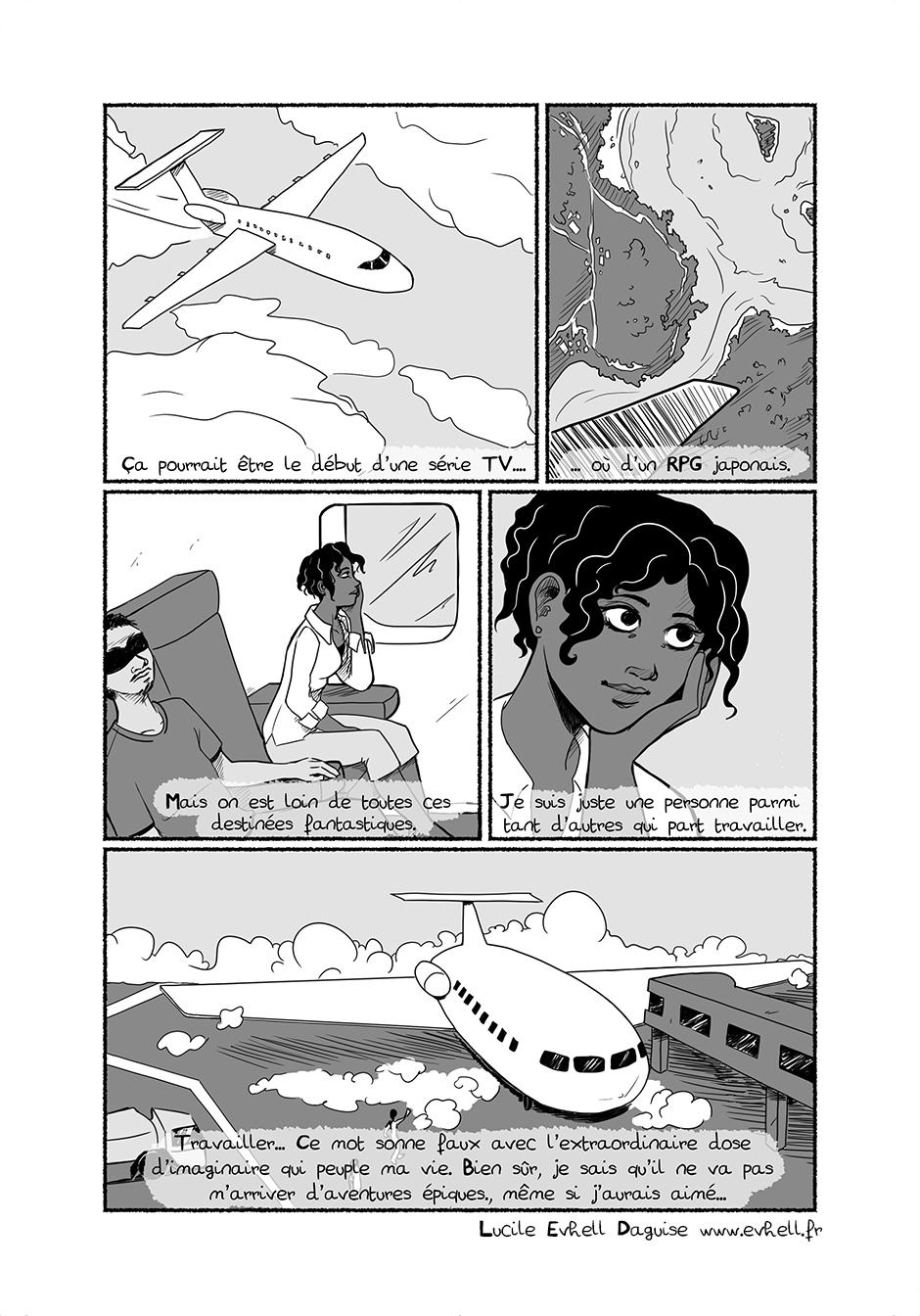 Nora arrive en avion en Guyane.
