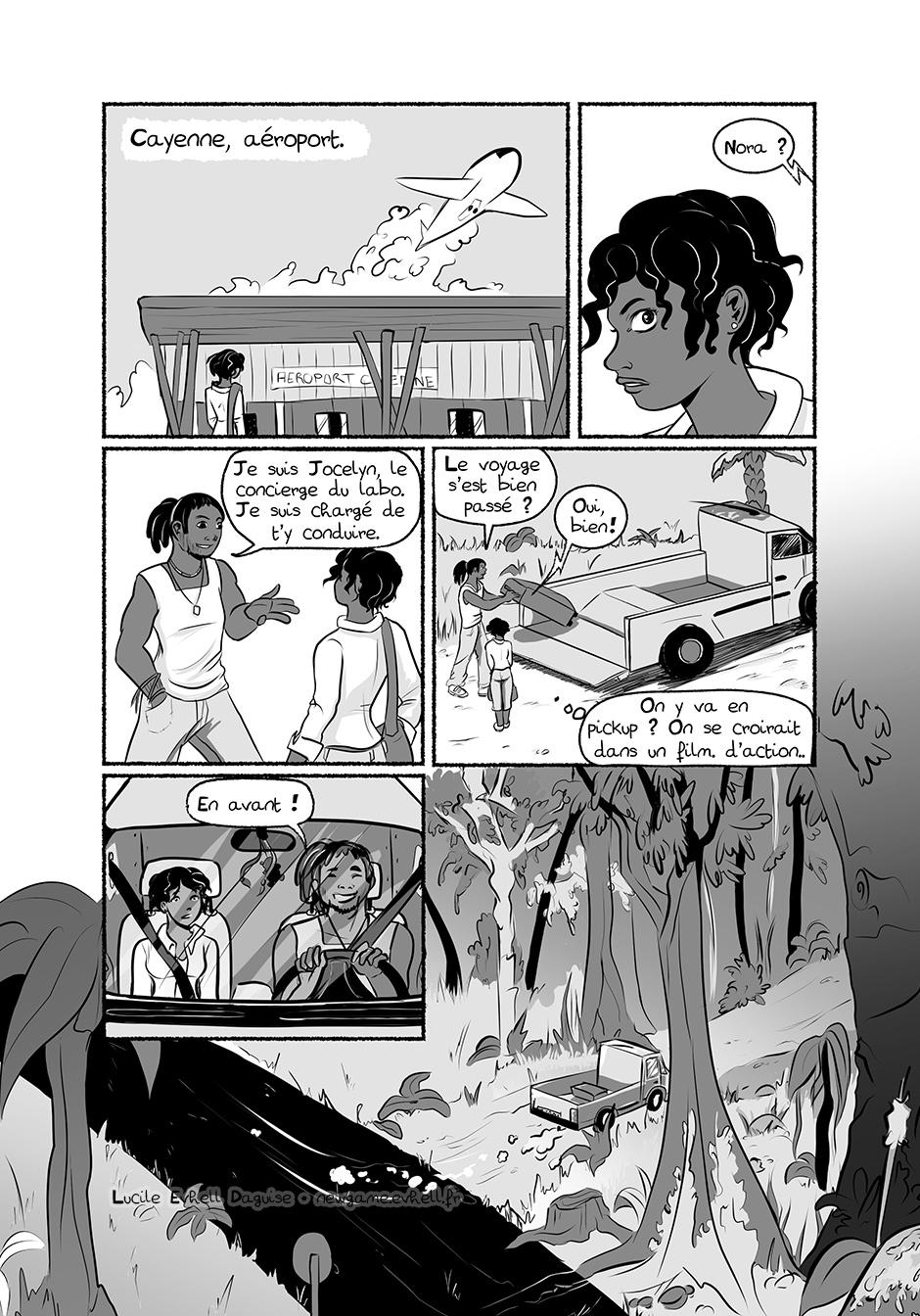 Nora rencontre le concierge du labo qui vient la chercher. Ils s'en vont dans un pickup, comme dans un film...