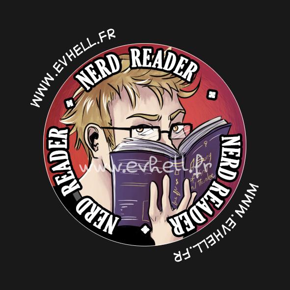 """badge """"Nerd reader"""" : Elias en train de lire"""