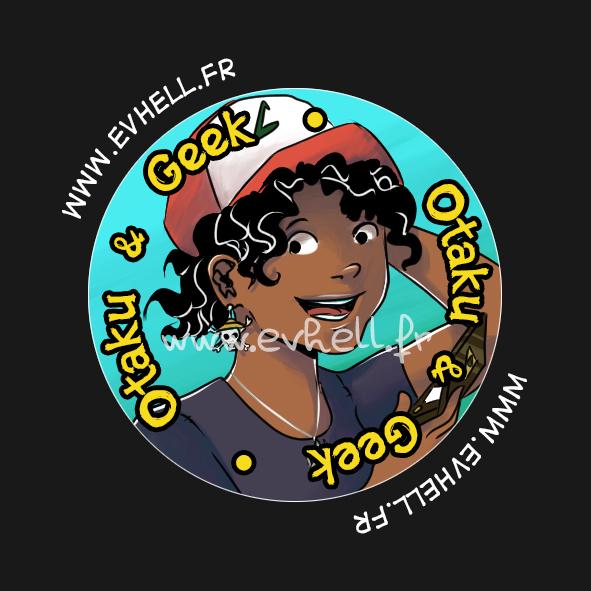 """Badge """"Otaku & Geek"""" : Nora avec une casquette de Sacha"""