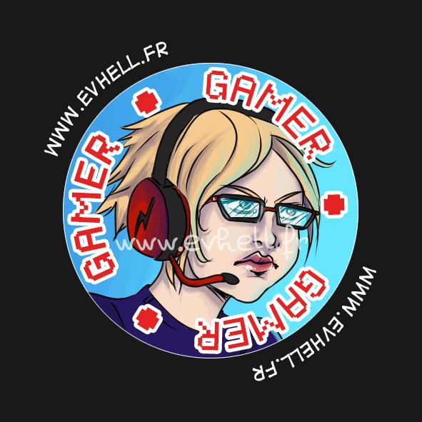 """Badge """"Gamer"""" : Olivia avec un casque de jeu"""
