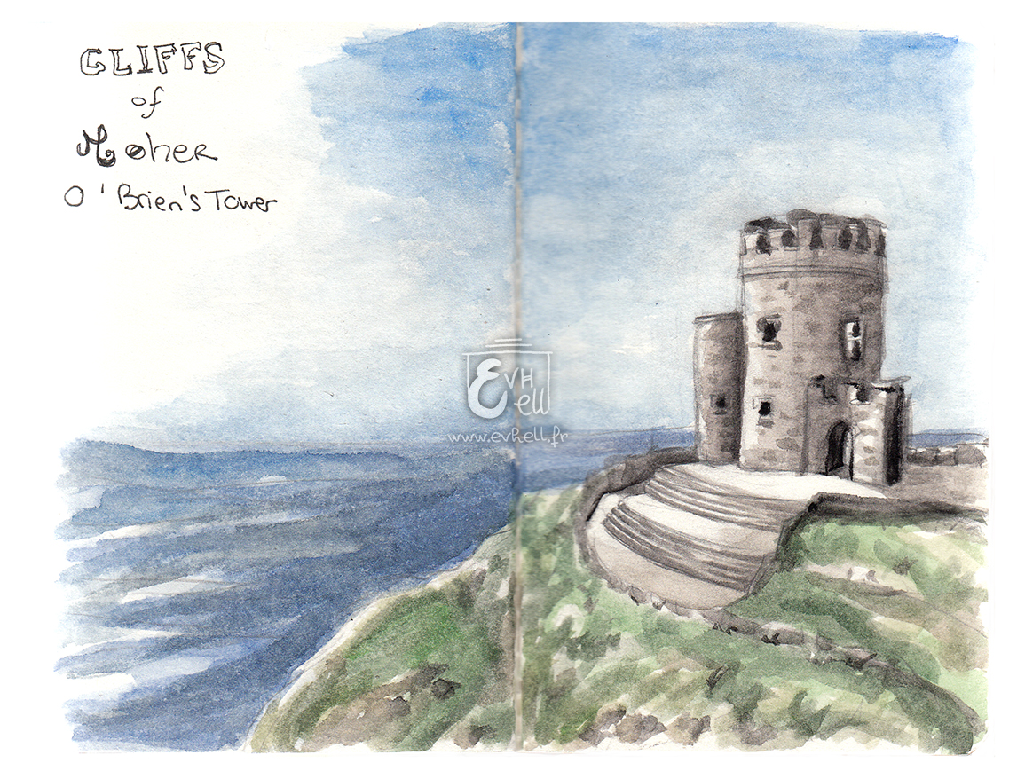Aquarelle Irlande - Cliffs of Moher - O'Brien's Tower