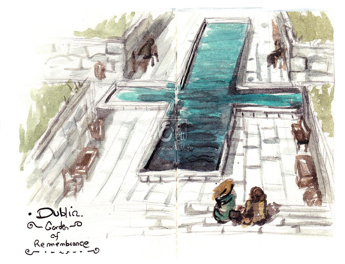 Aquarelle Irlande - Garden of Remembrance
