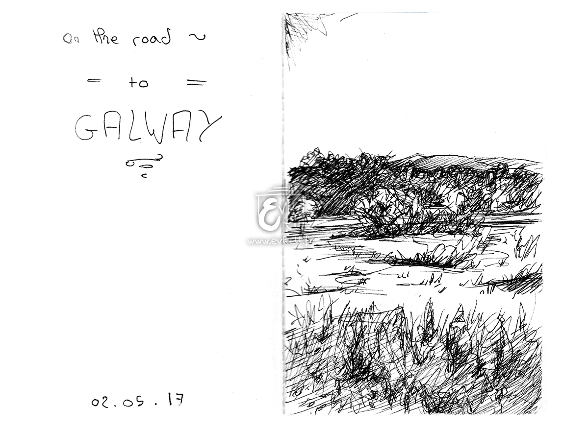 Aquarelle Irlande - On the road to Galway