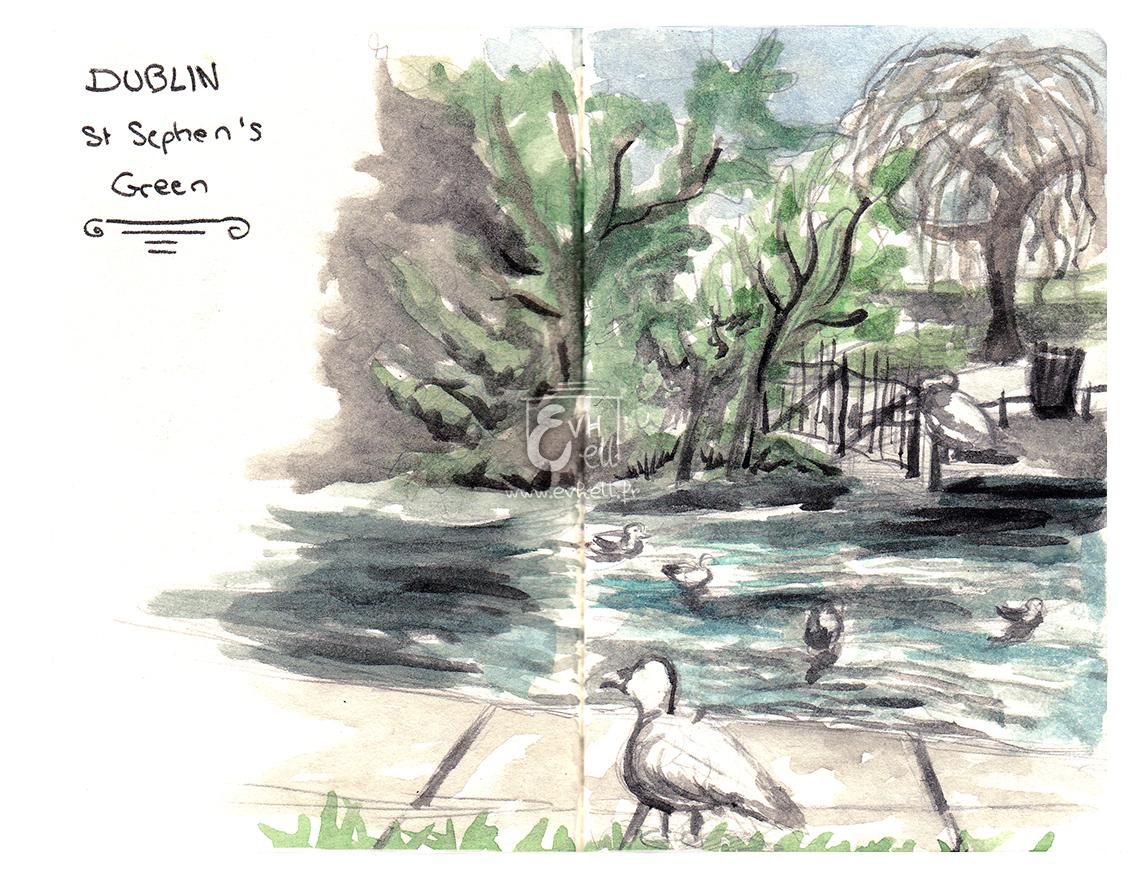 Aquarelle Irlande - St Stephen's Green