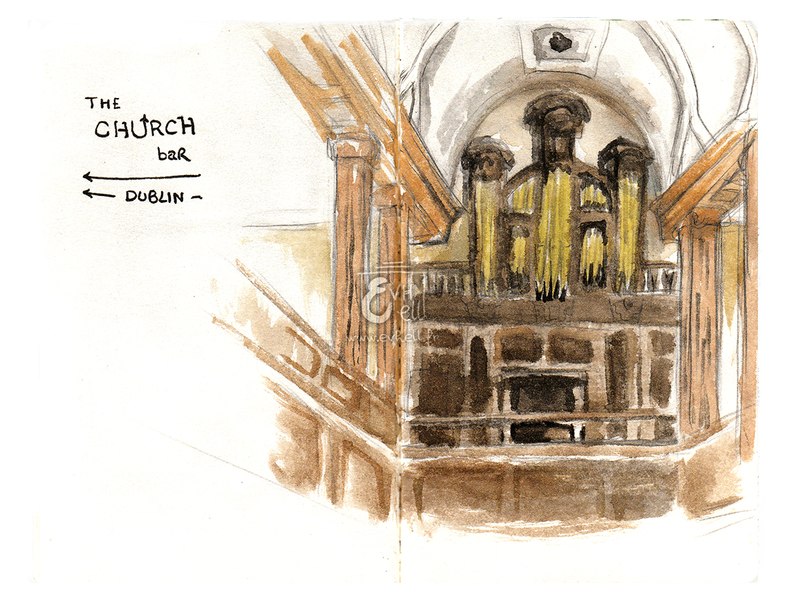 Aquarelle Irlande - The Church Bar
