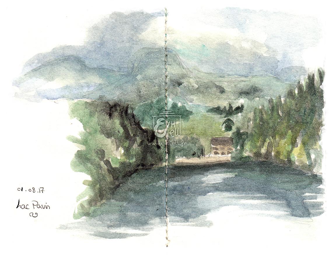 Aquarelle Auvergne - Lac Pavin