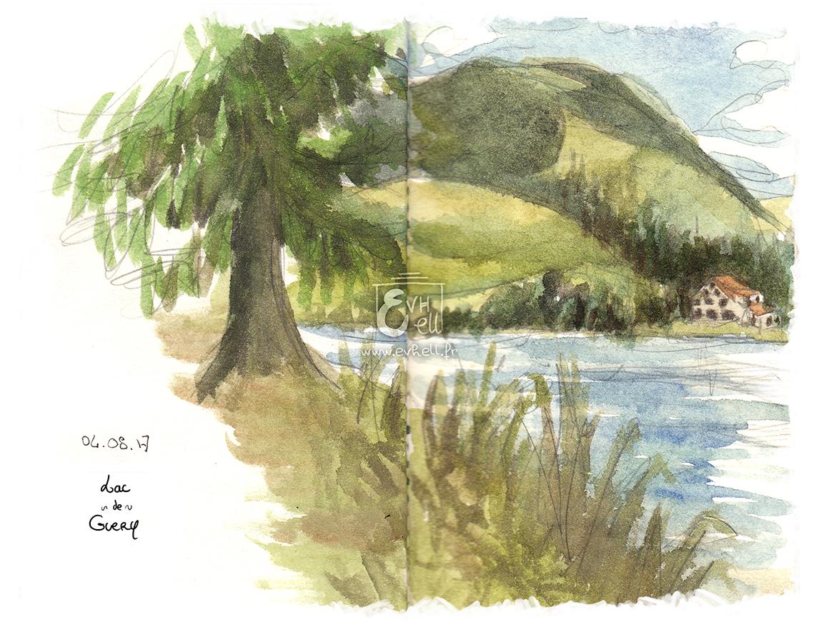 Aquarelle Auvergne - Lac de Guéry