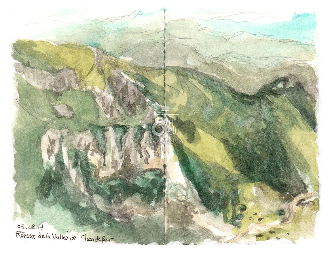Aquarelle Auvergne - Vallée de Chaudefour