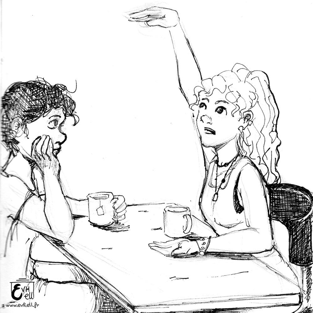 Nora et Stella discutant.