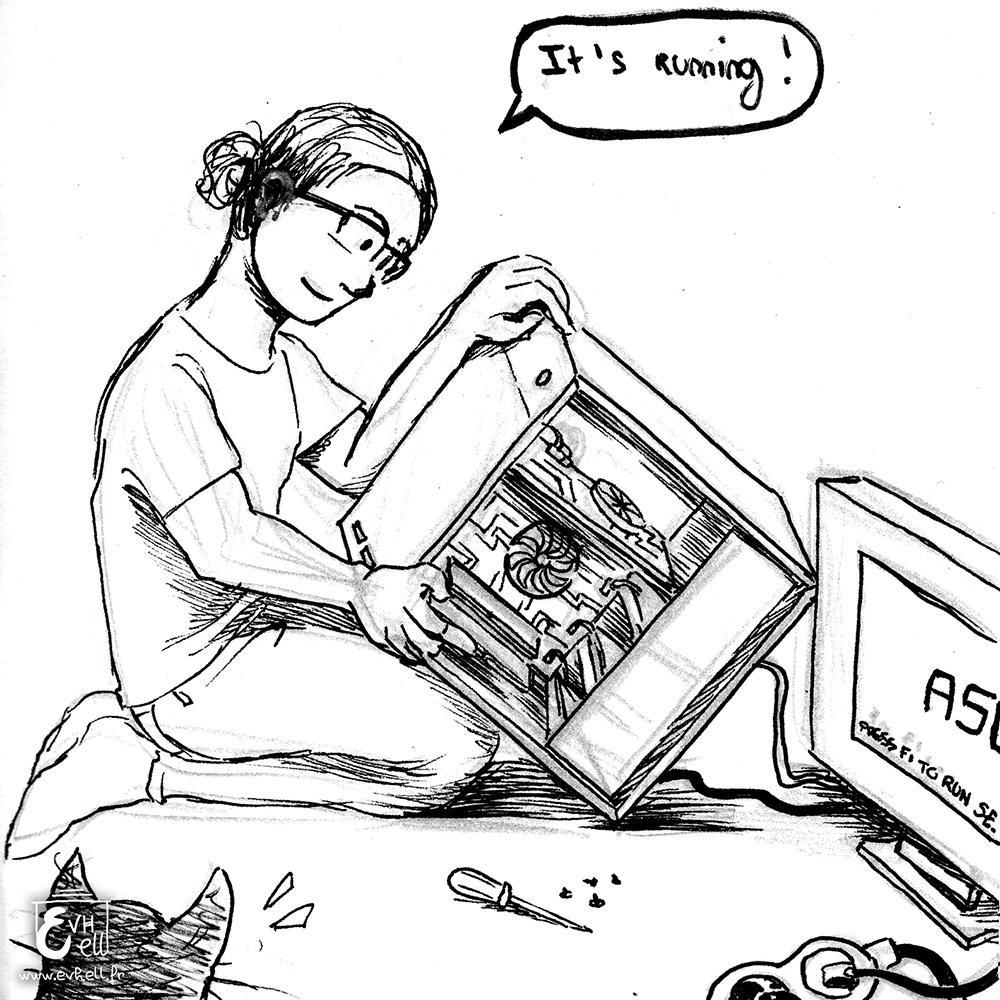 Flo répare une tour de PC.