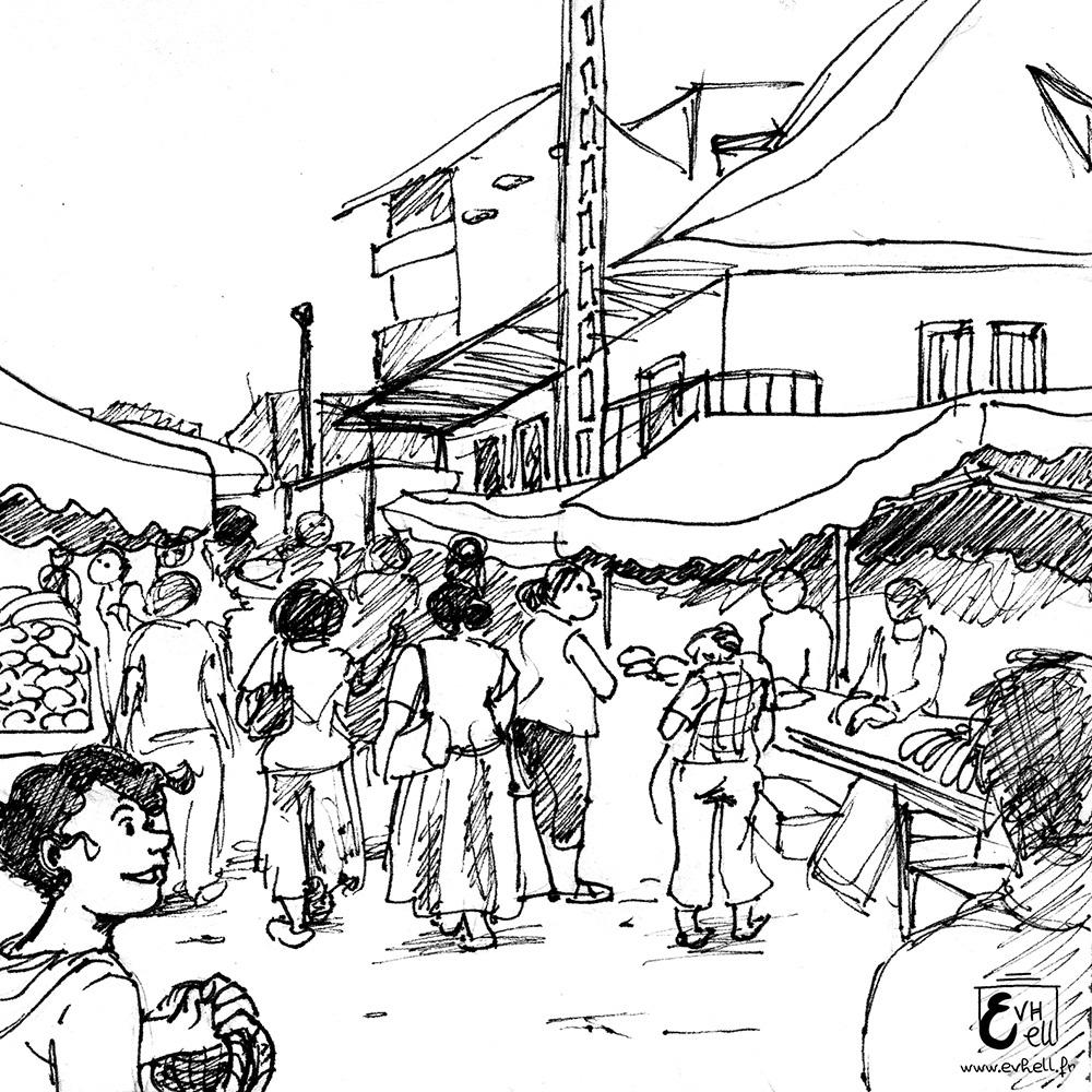Nora, au marché, à Cayenne.