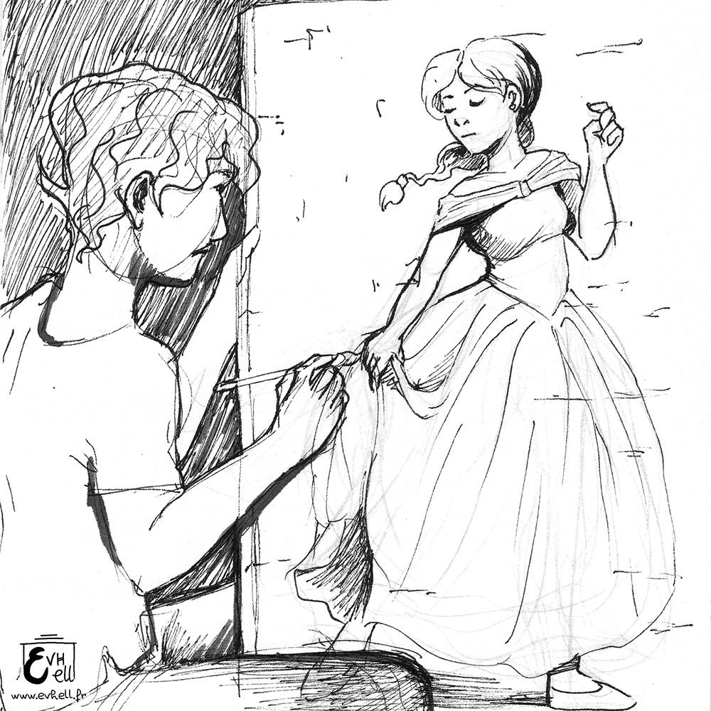Un jeune homme peint une femme en robe.