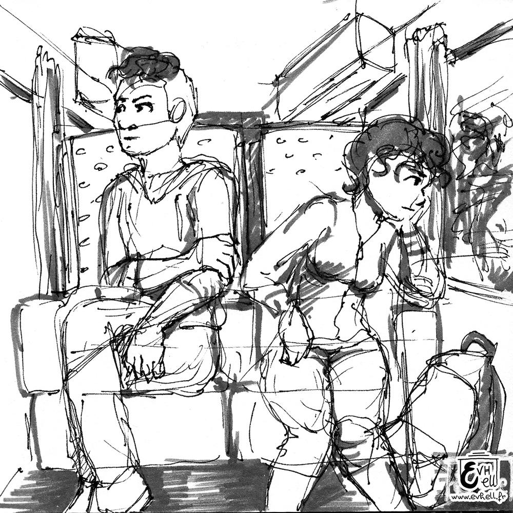 Dessin de Nora et son frère, chacun en train de bouder, assis dans le train.