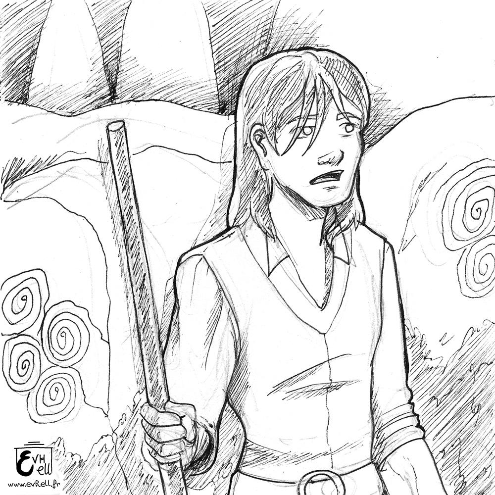 """Gareth, un chevalier déchu aveugle dans le dessin animé """"Sur la route de Kamelot"""""""