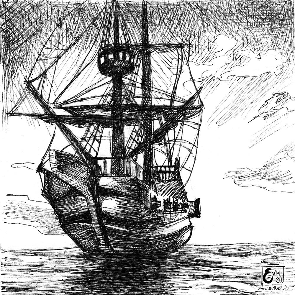 Un bateau pirate sur une eau calme.
