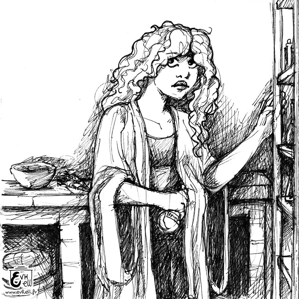 Dessin d'une jeune sorcière dans son labo.