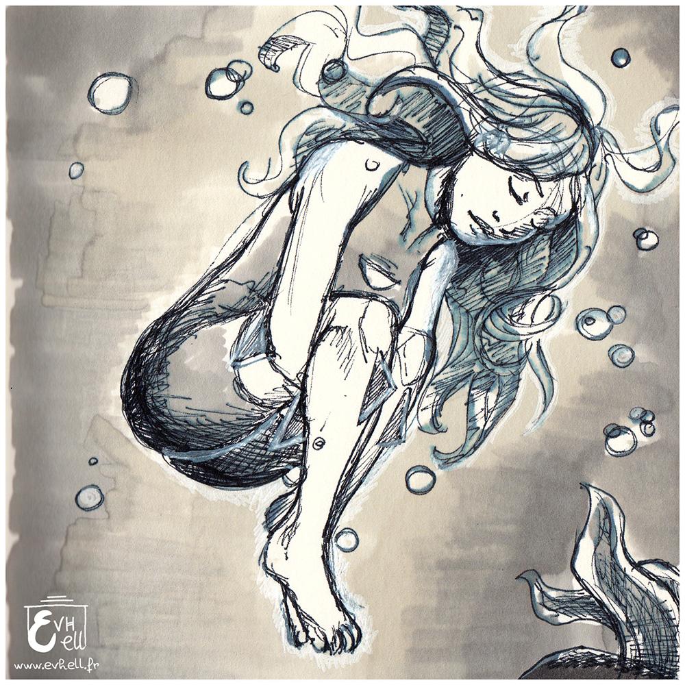 Dessin de Limi, endormie sous l'eau.