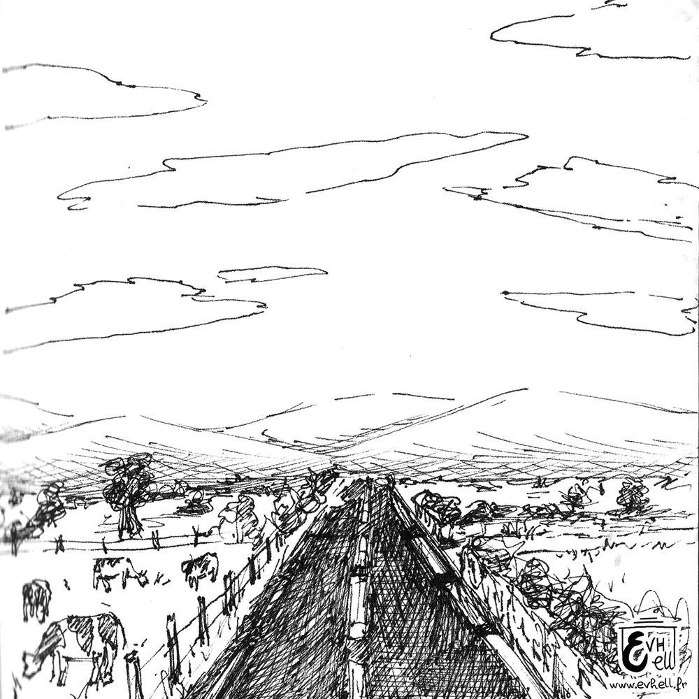 Dessin d'une route longue et droite.
