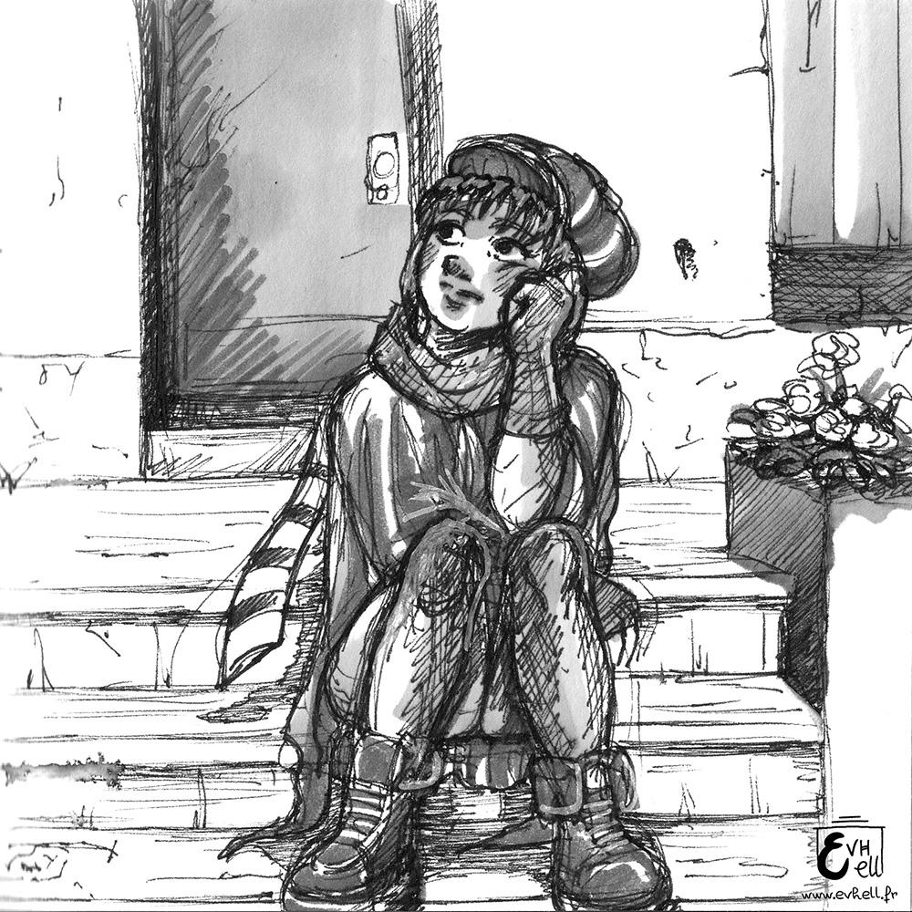 Dessin d'une jeune fille assise.