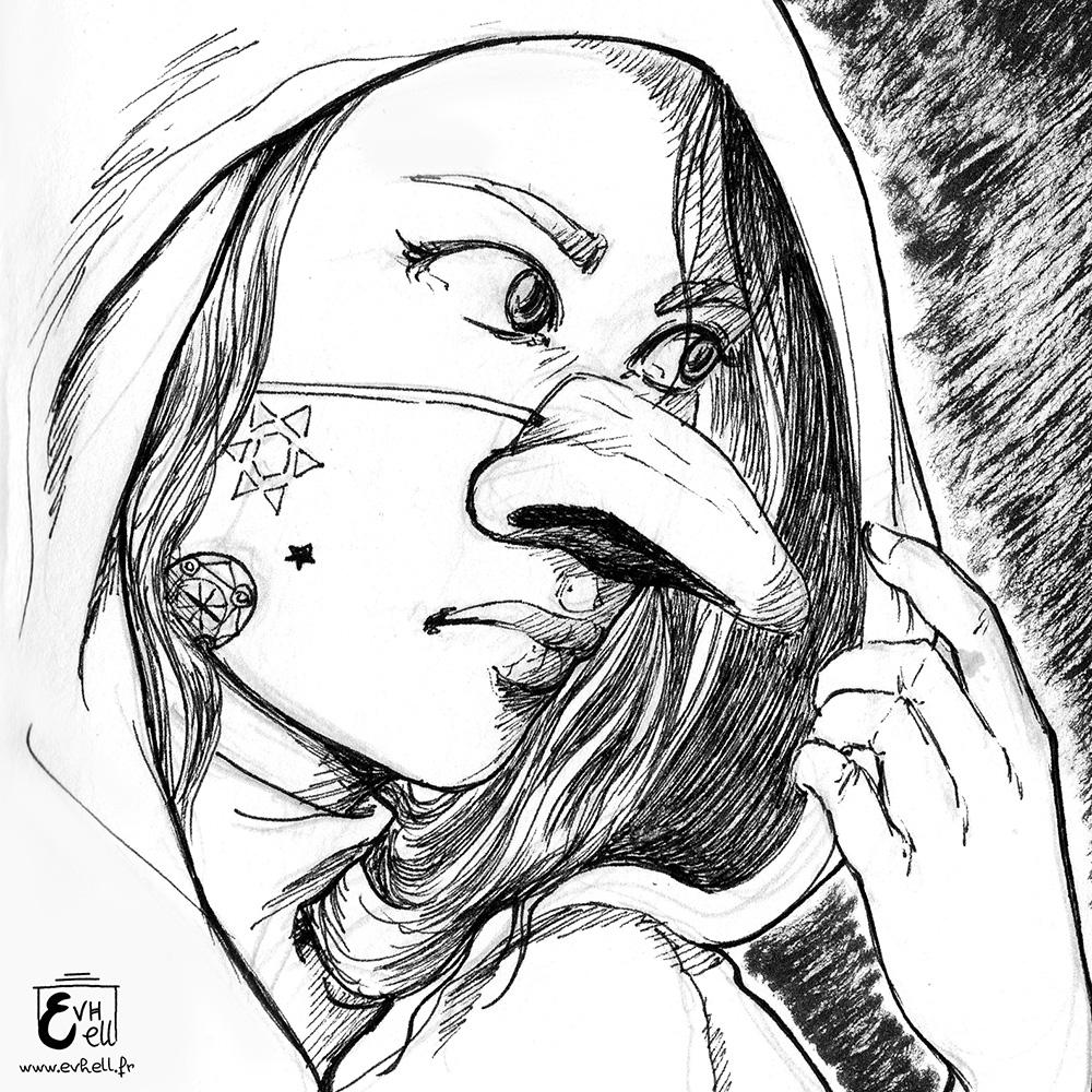 Portrait d'une jeune femme portant un masque de faux-nez.