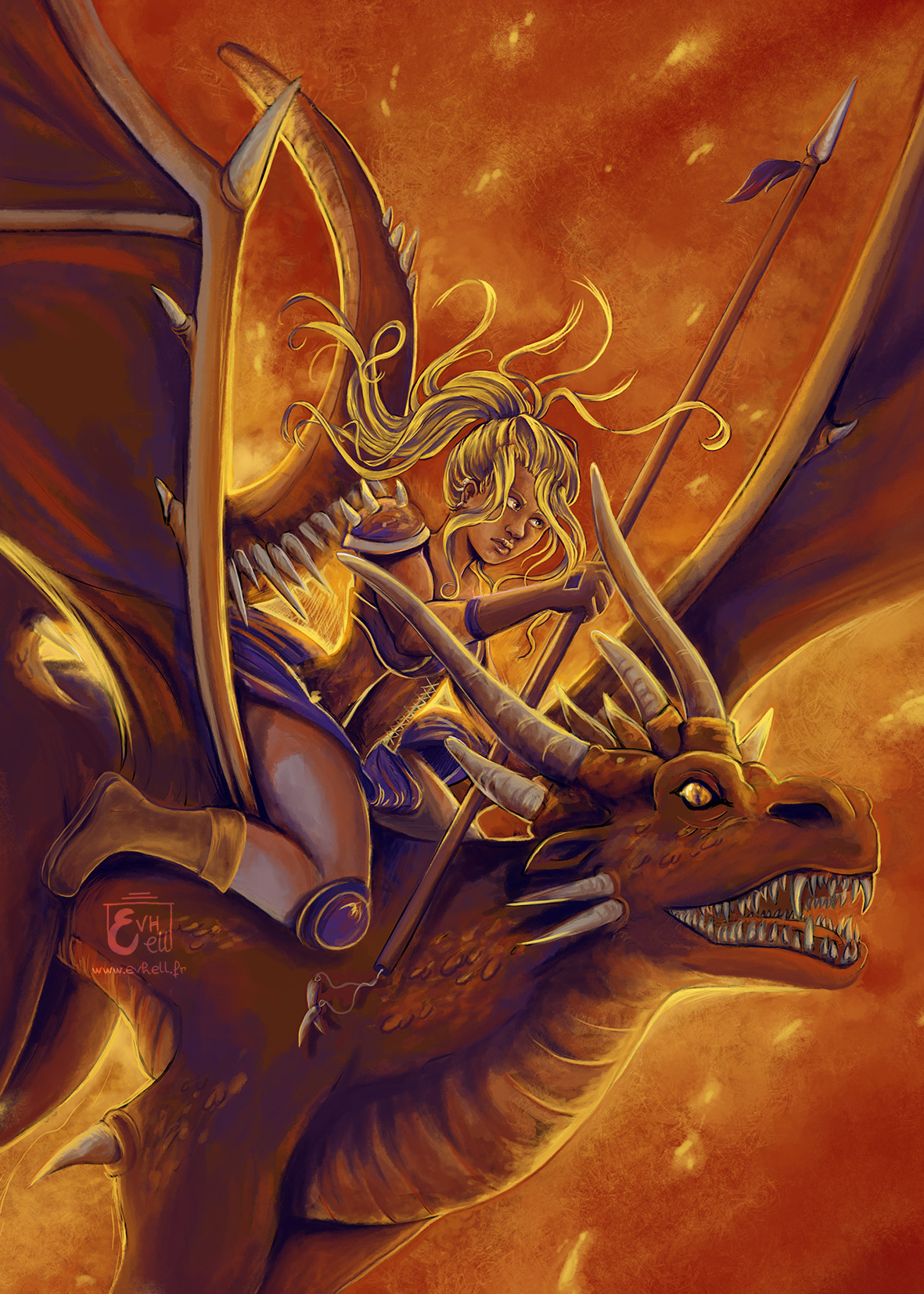 Valkyrie chevauchant un dragon