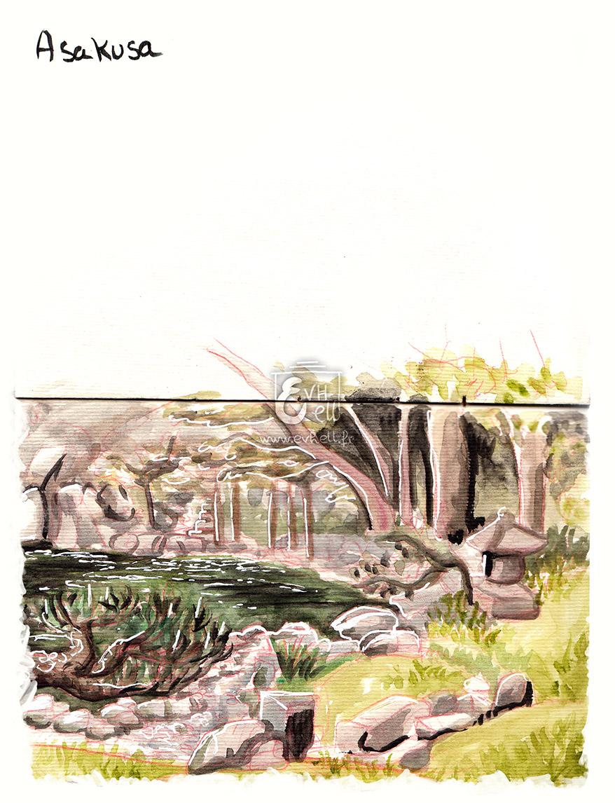 Aquarelle des jardins d'Asakusa