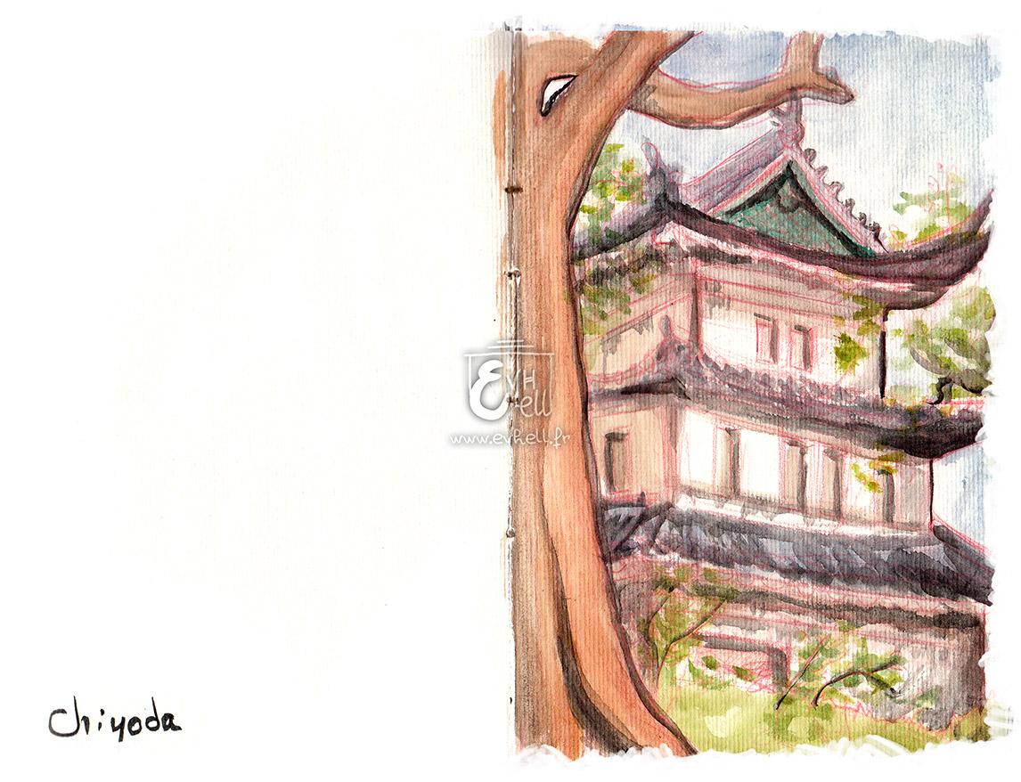 Aquarelle d'un temple à Chiyoda