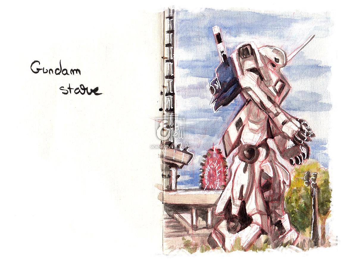 Aquarelle de la statue Gundam