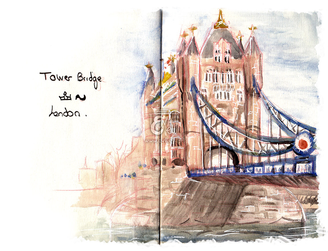 Aquarelle du Tower Bride à Londres