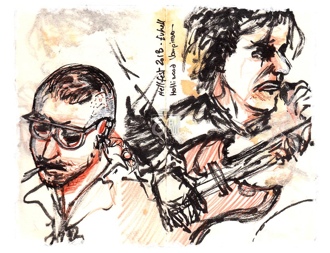 Deux portraits : Alice Cooper, ses cheveux en bataille et ses striures noires sur les yeux ; Jonny Depp, ses lunettes blanches et ses cheveux ras, concentré sur sa musique ; et un croquis de mains de guitariste sur sa guitare.