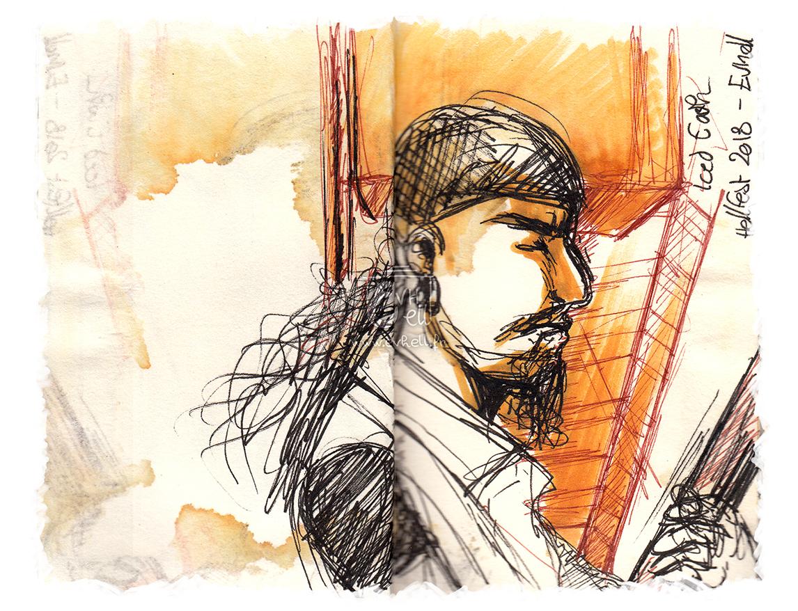 Portrait du guitariste de Iced Earth. Barbe, bandana et cheveux longs :)
