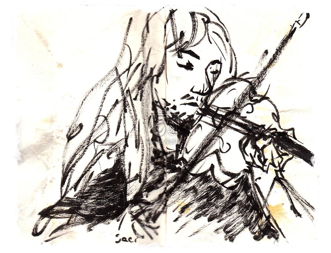 Portrait du violoniste de Saor, en train de jouer, avec ses long cheveux et son violon.