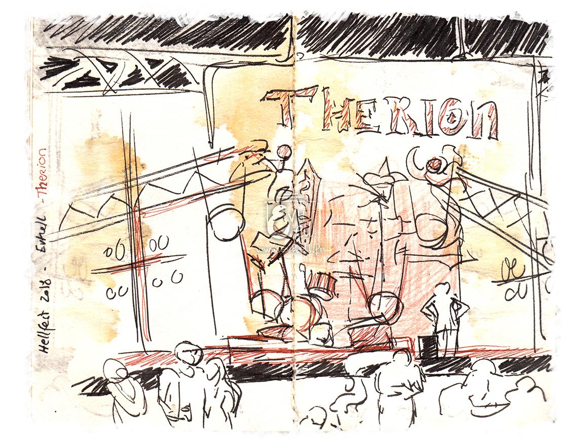 Scène pendant le concert de Therion, à la scène Temple.