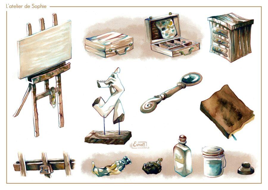 Dessin d'objets issus d'un atelier au 20e siècle.
