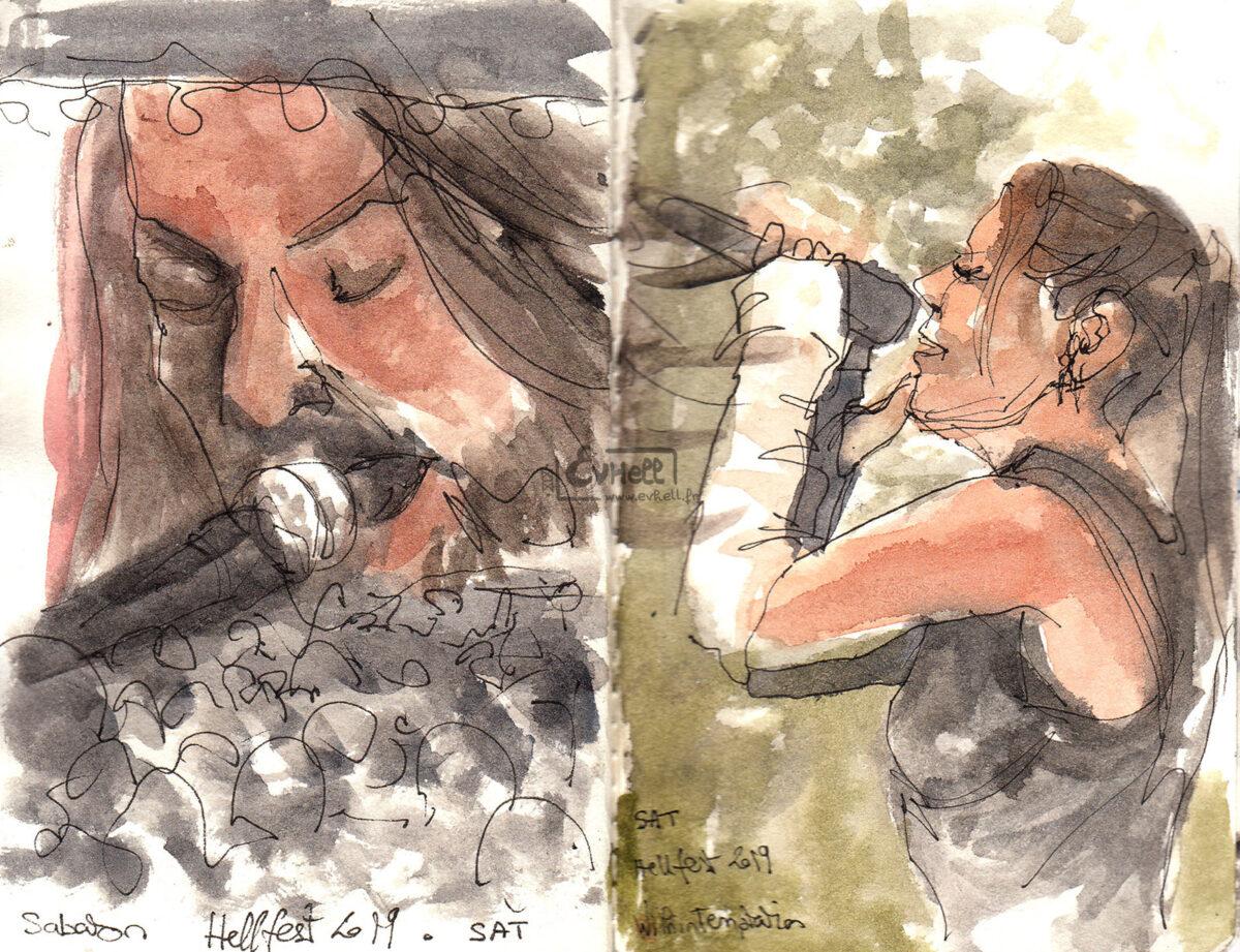 Aquarelles : à gauche, gros plan sur le chanteur du groupe Sabaton. A droite, sur la chanteuse de Within Temptation.