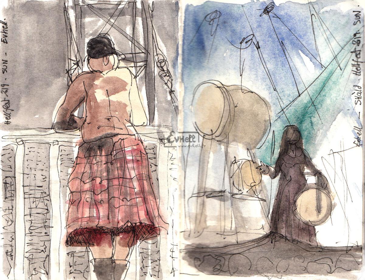 A gauche, aquarelle d'un visiteur en kilt. A droite, la scène lors du concert de Skald.